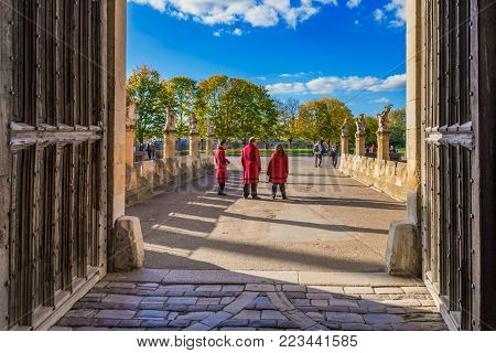 lONDON, UNITED KINGDOM - OCTOBER 27: This is the entrance and main gate of Hampton Court Palace, a historic palace and landmark in the Richmond area on October 27, 2017 in London