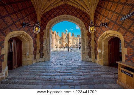 LONDON, UNITED KINGDOM - OCTOBER 27: The main entrance architecture of Hampton Court Palace, a famous palace and historic landmark in the Richmond area on October 27, 2017 in London