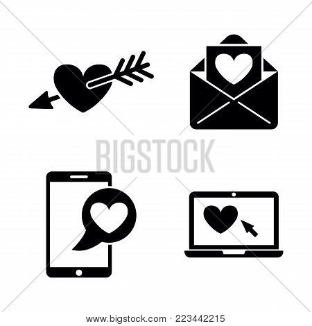 Amour. Simple Related Vector Icons Set for Video, Mobile Apps, Web Sites, Print Projects and Your Design. Black Flat Illustration on White Background