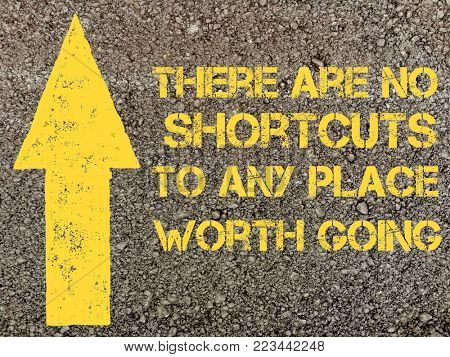 Quote on no shortcut, written on asphalt surface