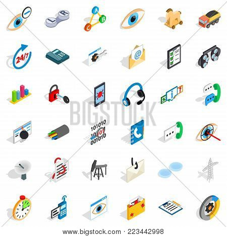 Main support icons set. Isometric set of 36 main support vector icons for web isolated on white background