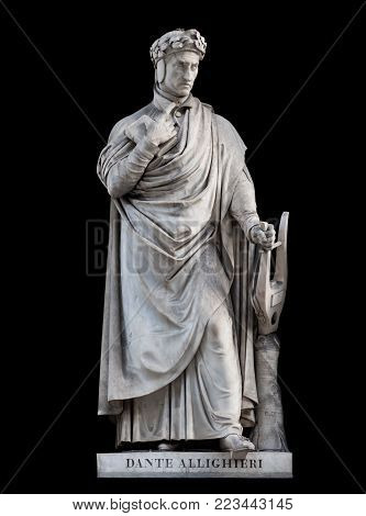 Dante Alighieri statue, by Paolo Emilio Demi, 1840. It is located in the Uffizi courtyard, in Florence.
