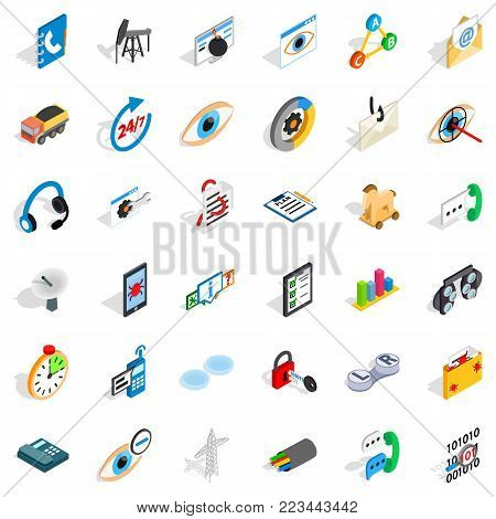 Power line icons set. Isometric set of 36 power line vector icons for web isolated on white background
