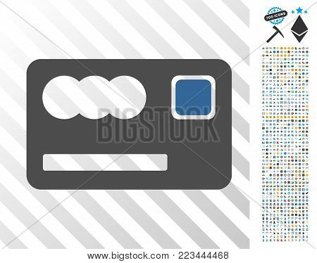 Banking Card icon with 7 hundred bonus bitcoin mining and blockchain clip art. Vector illustration style is flat iconic symbols designed for cryptocurrency apps.