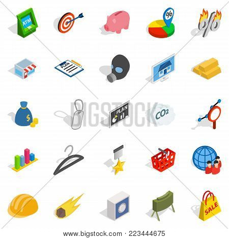 Comment icons set. Isometric set of 25 comment vector icons for web isolated on white background