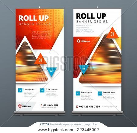 Business Roll Up Banner stand. Presentation concept. Abstract modern roll up background. Vertical roll up template billboard, banner stand or flag design layout. Poster for conference, forum, shop.