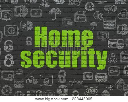 Security concept: Painted green text Home Security on Black Brick wall background with  Hand Drawn Security Icons