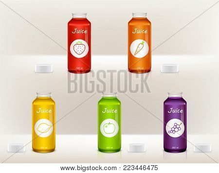 Vector set of realistic juice bottles, jars. Glass, plastic transparent containers for strawberry, lemon, apple, grape, carrot liquid. Package design for advertisement, promotion, internet networking
