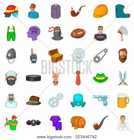 Working personnel icons set. Cartoon set of 36 working personnel vector icons for web isolated on white background