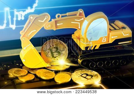 bitcoin mining concept; cryptocurrency mine concept; Excavator and Bitcoin coins on the background of the forex chart
