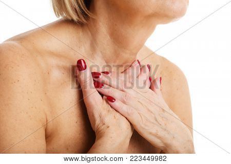 Picture of adult woman with thyroid gland isolated on white background