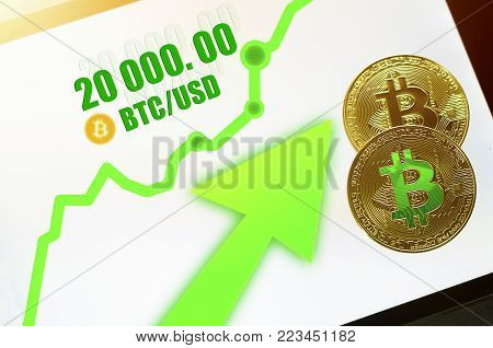Bitcoin. New probable market bitcoin price record - twenty thousand (20 000) US dollars ($) The growth rate of the gold coin for designers and breaking news. Top view