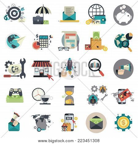 Set of flat design icons for business, pay per click, creative process, searching, time is money, on line shopping. Icons for website development and mobile phone services and apps.