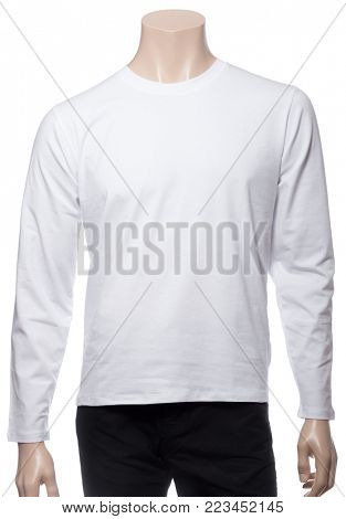 Blank white long sleeved cotton T-Shirt on a mannequin isolated on a white background