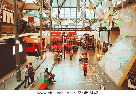 London - August 22, 2017: Old Double Decker Buses In London Transport Museum, The Uk.