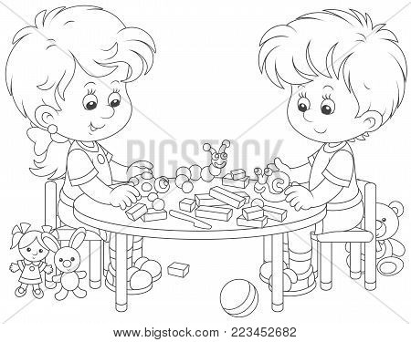 Little children sculpturing figurines of funny animals from plasticine, a black and white vector illustration in cartoon style