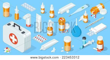 Big set of medical equipment and pharmacy. First Aid Kit. Isometric vector illustration.