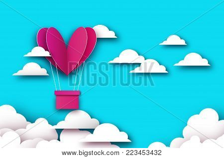 Heart shape Pink hot air balloon flying. Love in paper cut style. Origami Valentine day. Romantic Holidays. 14 February. Blue sky with origami clouds. Vector