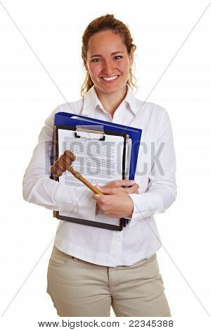 Young Business Woman With Gavel And Files