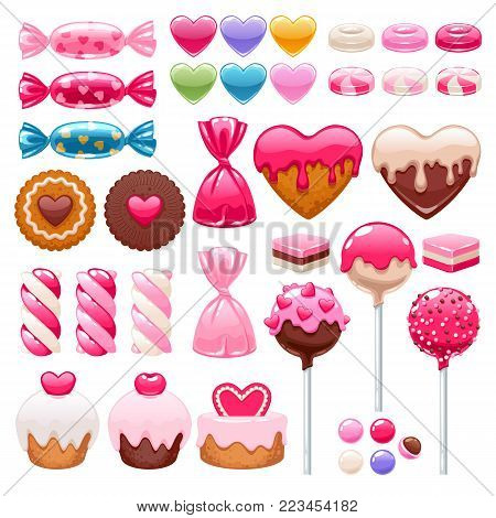 Valentine's day sweets set - marshmallow, licorice, hard candy, dragee, cake pop, jelly, peppermint candy, chocolate cookies vector illustration