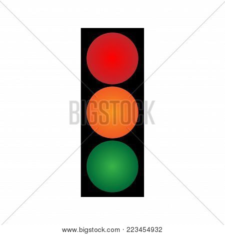 Traffic light sign. Information volume icon isolated on white background. Regulate drive symbol. Concept of safety. Logo for crossroad transport or highway. Mark for control on a road. Stock vector