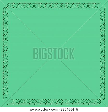 Frame green. Decoration concept. Border from waves. Color framework isolated on white background. Modern art scoreboard. Decoration banner rim. Stock vector illustration