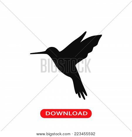 Hummingbird icon vector in modern flat style for web, graphic and mobile design. Hummingbird icon vector isolated on white background. Hummingbird icon vector illustration, editable stroke and EPS10. Hummingbird icon vector simple symbol for app, logo, UI