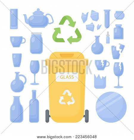 Glass waste sorting vector flat icon set, Big collection of flat design of glass trash recycling, rubbish and waste container isolated on the white background, cute vector illustration