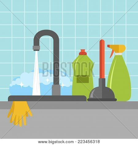 Kitchen sink icon. Kitchen set up for washing dishes. Flat vector illustration