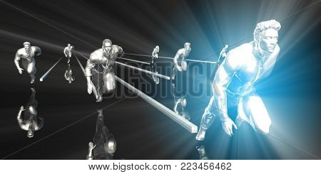 Business People Running with a Clear Winner 3D Render