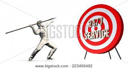 247 Service Goal with Businessman Targeting Concept 3D Render