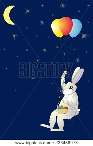Hare with an Easter basket flying on balloons against the starry sky, vector illustration