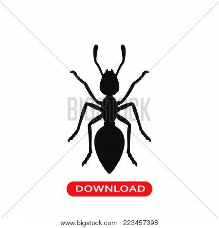 Ant icon vector in modern flat style for web, graphic and mobile design. Ant icon vector isolated on white background. Ant icon vector illustration, editable stroke and EPS10. Ant icon vector simple symbol for app, logo, UI.