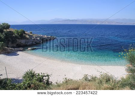 Greece. Corfu. Bataria beach near Kassiopi village
