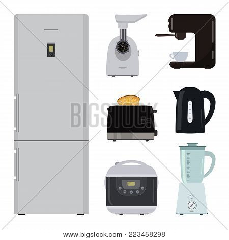 Set of kitchen equipment on a white background. There is a refrigerator, meat grinder, toaster, crock pot, kettle, blender and coffee machine in the picture. Vector illustration