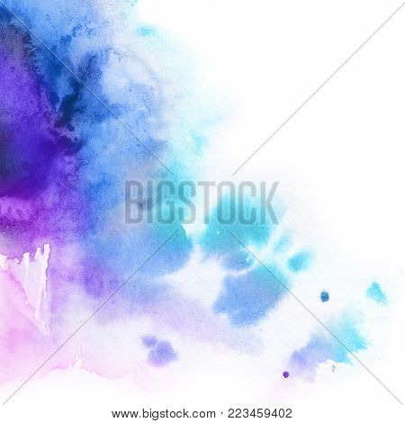 Abstract background.Watercolor splash painted manually  blue, pink , lilac tones. White background and blot.Place for the text.Abstract watercolor background painted manually. Bright dynamic splash.