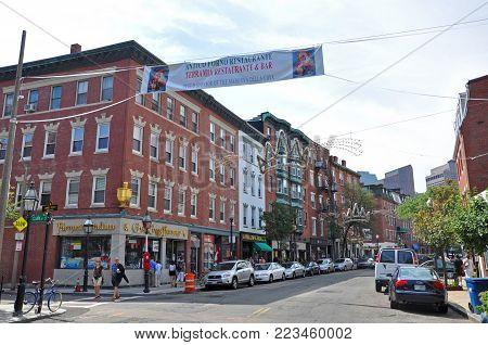 BOSTON - AUG. 13, 2011: Boston historic Hanover Street at Clark Street in North End, Boston, Massachusetts, USA. North End is the first neighborhood of Boston.
