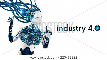 Beautiful Robot woman isolated on white background. Artificial intelligence robot connected with wires to network. cyborg has human face and hands. Industrial revolution of 4.0. Scifi future concept.
