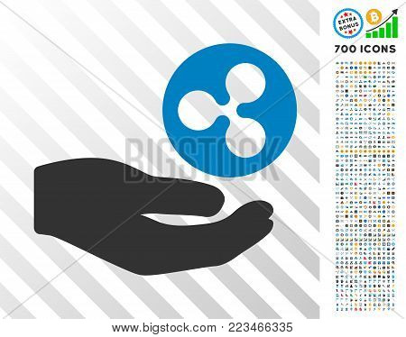 Hand Offer Ripple Coin pictograph with 700 bonus bitcoin mining and blockchain pictographs. Vector illustration style is flat iconic symbols designed for crypto-currency websites.