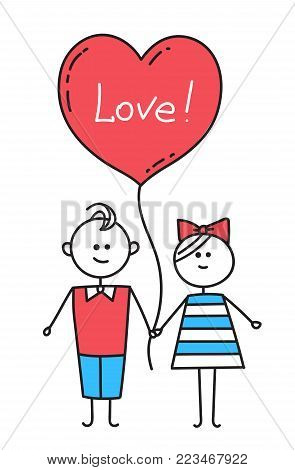 Guy and girl holding hands. Guy and girl holding hands. Guy and girl holding hands. Happy Valentines Card. Illustration for Valentines Day.