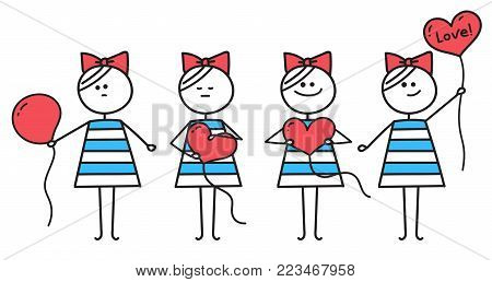 Cute girl holds red heart shaped balloon . Girl makes heart from round balloon. Illustration for Valentines Day. Girl with balloon. Girl with red heart. Funny character