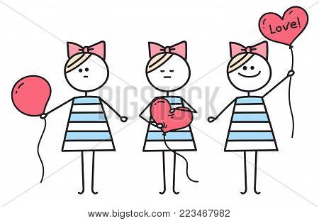 Cute girl holds heart shaped balloon . Holiday illustration. Girl makes heart from round balloon. Funny character girl. Illustration for Valentines Day.