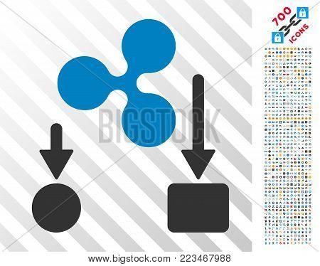 Ripple Cashflow icon with 7 hundred bonus bitcoin mining and blockchain symbols. Vector illustration style is flat iconic symbols designed for blockchain software.
