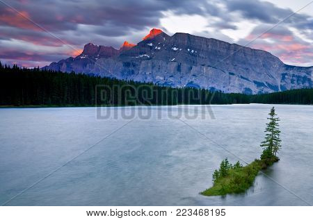 Mount Rundle and Two Jack Lake, Banff National Park, Alberta, Canada