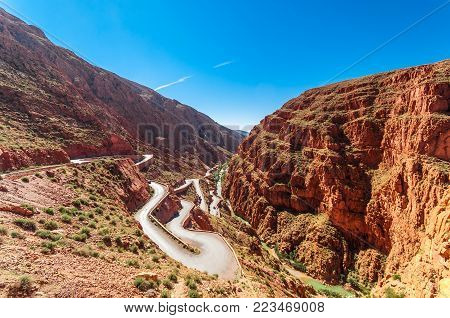 View on Narrow serpentine by Dades gorge in Morcco