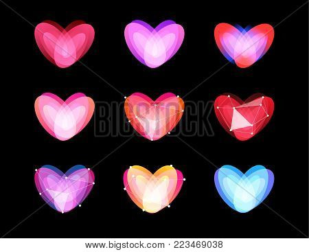 Beauty unusual hearts collection. Abstract polygonal design. Valentines Day symbols, vector ilustration. Cyber love logo template