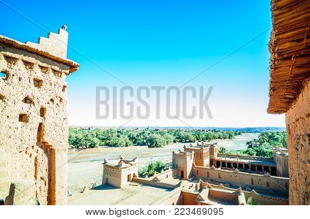 View on traditional buildings of Oaisis Ait Ben Haddou in Morrocco