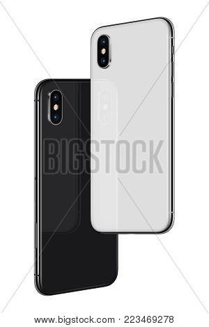 Similar to iPhone X smartphones back sides hovering in the air. Black and white rotated frameless smartphones back sides soaring in the air turned towards each other. Isolated on white background.3D illustration.