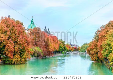 View on Autumn landscape by Isar in Munich