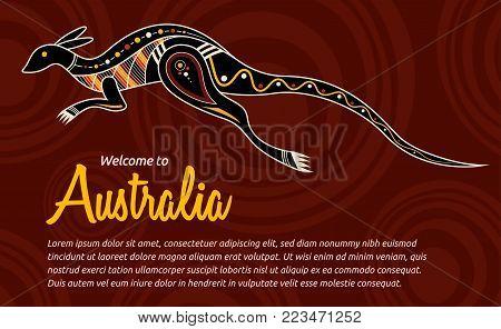 Kangaroo. Aboriginal style. Vector abstract illustration. Flyer, card template.